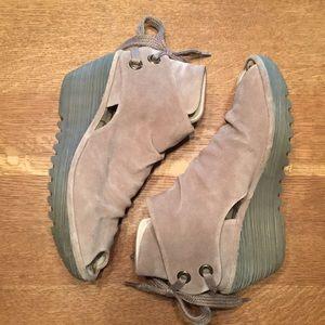 Fly London peep toe wedges.   Size 40